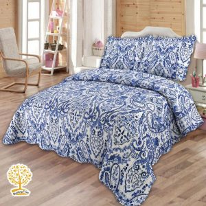 Blue Paisley Quilted Bedspread cum Quilt