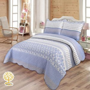 sky blue quilted bedspread