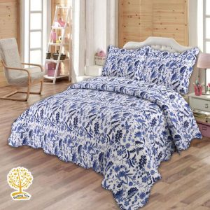 Blue Floral Quilted Bedspread Cum Quilt