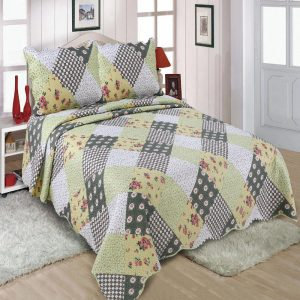 Green Checks Quilted Bedspread