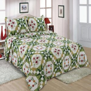 Green Traditional Floral Bedspread