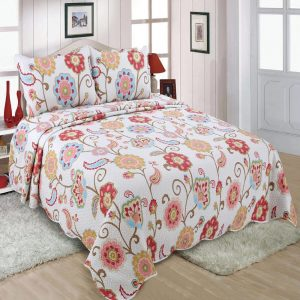 Multicolored Floral Quilted Bedspread
