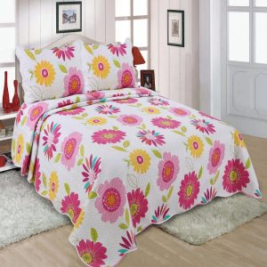 Pink Floral Quilted Bedspread With Pillowcovers