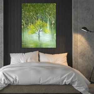 Green Tree Wall Painting In Metal