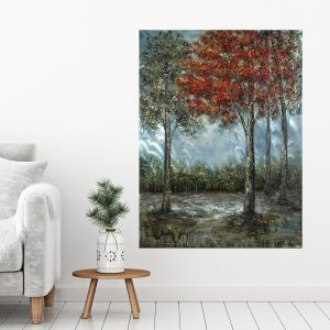 trees in the woods metal painting
