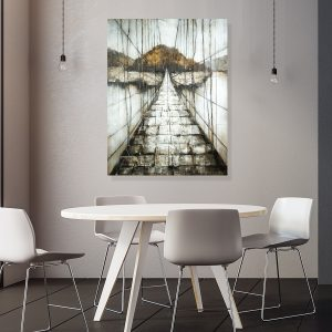Bridge Leading To Mountain Painting On Wood