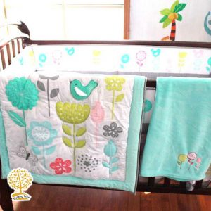 Floral turquoise green baby playmat cum comforter