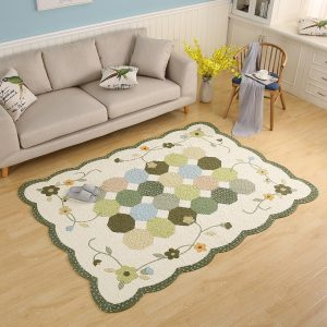 Green Hexagon Patchwork Rug In Cotton
