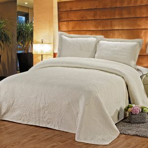 Cream Quilted Embroidery Bedspread In Cotton