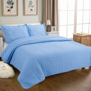 Blue Cotton Quilted Bedspread