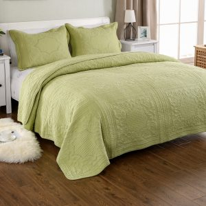 Green Cotton Embroidery Bedspread Quilted