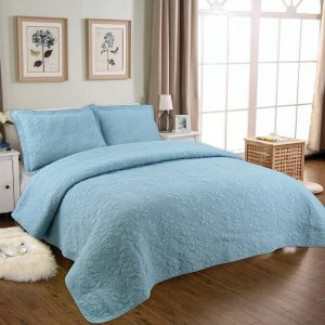 Blue Cotton Embroidery Bedspread Quilted