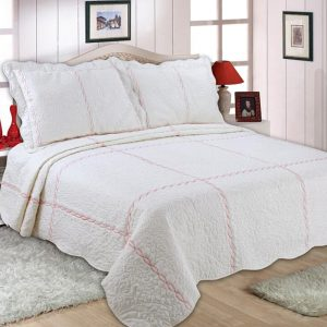 Checks Embroidery Quilted Bedspread