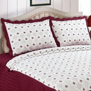 Maroon Embroidery Quilted Bedspread