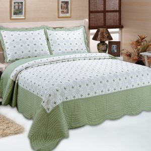 Green Full Embroidery Bedspread