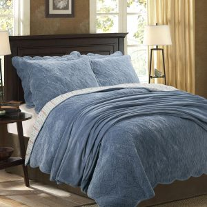 blue intricately quilted velvet bedspread