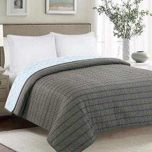 Cotton Stripes AC Quilt In Dark Grey