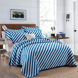 Blue Diagonal Striped Bedspread
