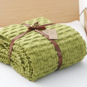 Green Woollen Luxury Throw