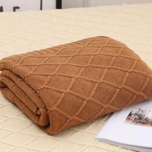 Brown Knitted Woollen Throw