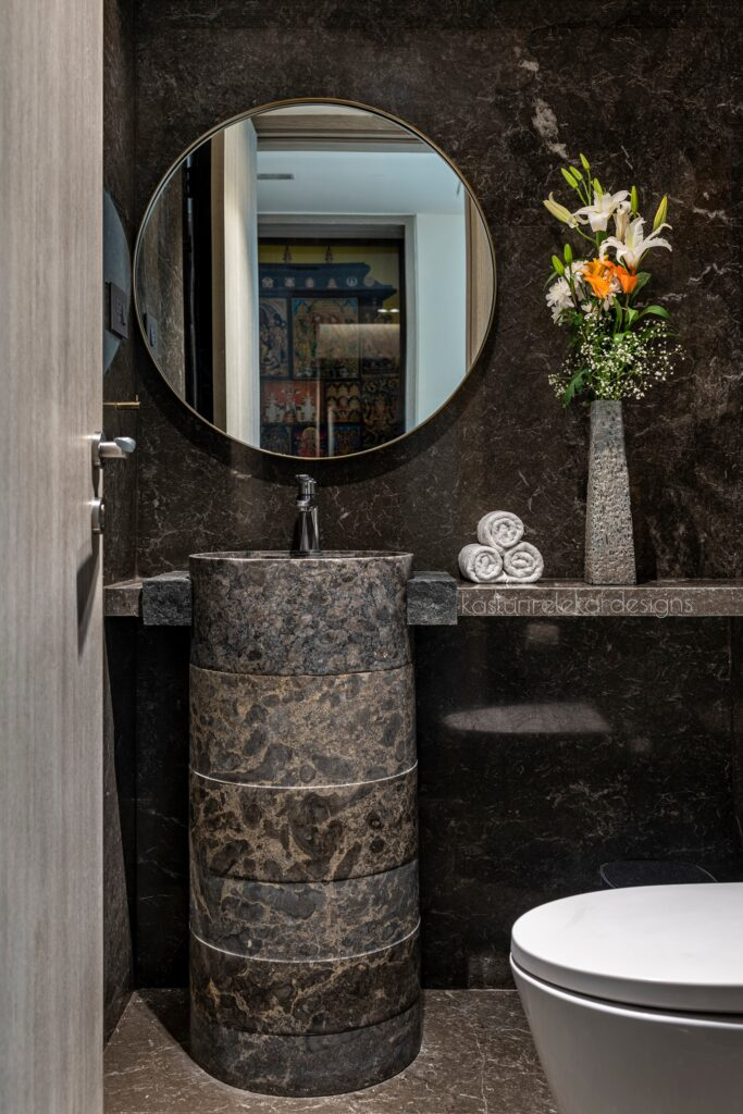 Powder Bathroom design with stone washbasin