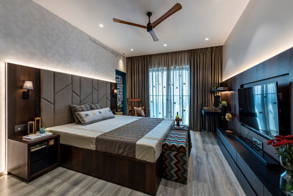 Master Bedroom in Earthy hues by Kasturi