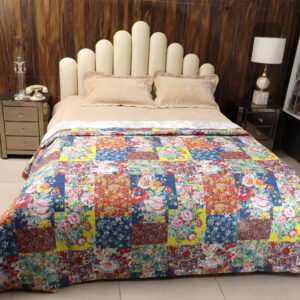 Patchwork print colourful quilt