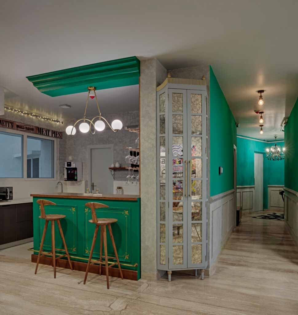 Velvety Green Bar with Mirrored Cabinet curated by Smita Thomas
